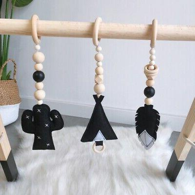 US Baby Play Wooden Stand Nursery Fun Hanging Toys Mobile Wo