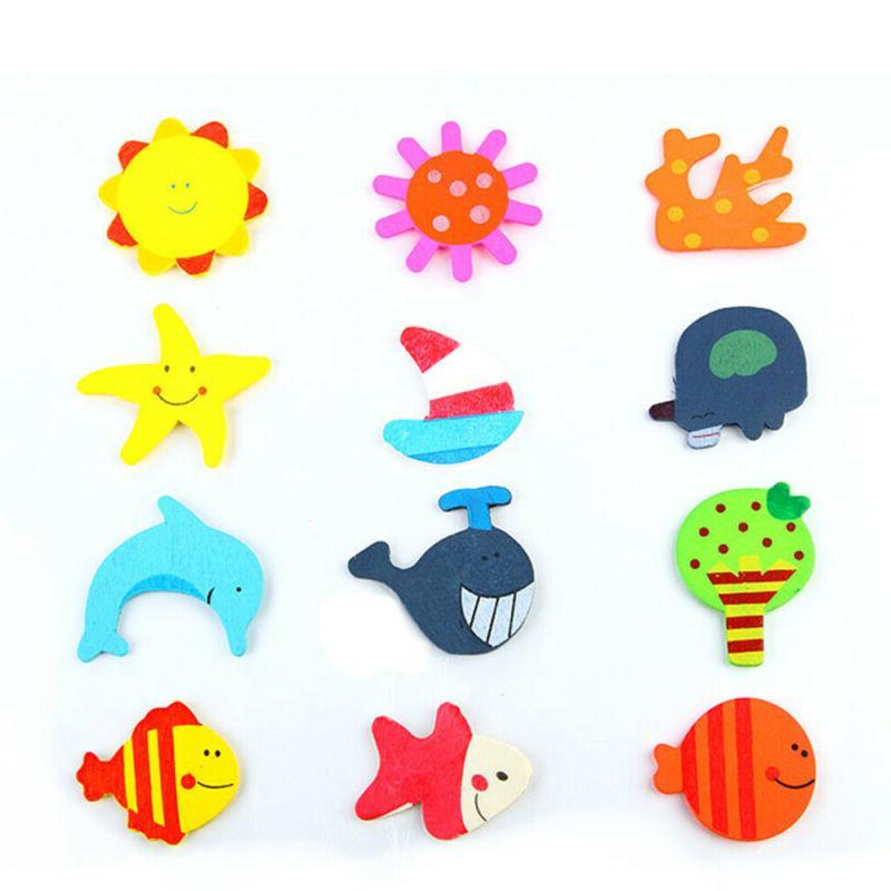 Cute Early Educational Toy Wood Cartoon Animal Fridge Magnet