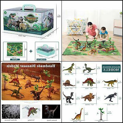 Dinosaur Toy Figure Activity Play Mat Educational Playset Gi