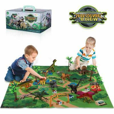 TEMI Dinosaur Toy Figure w/ Activity Play Mat & Trees, Educa