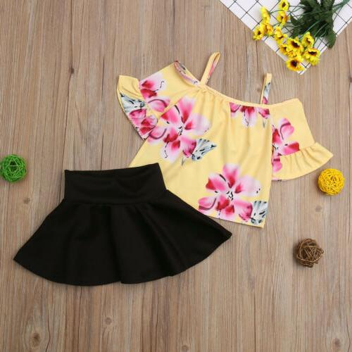 Fashion Girls Flower Off Tops Skirts