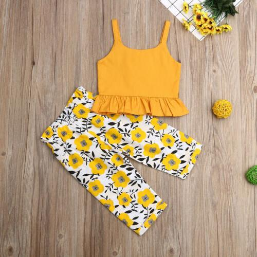 Fashion Kids Solid Tops Flower Pants Outfit US