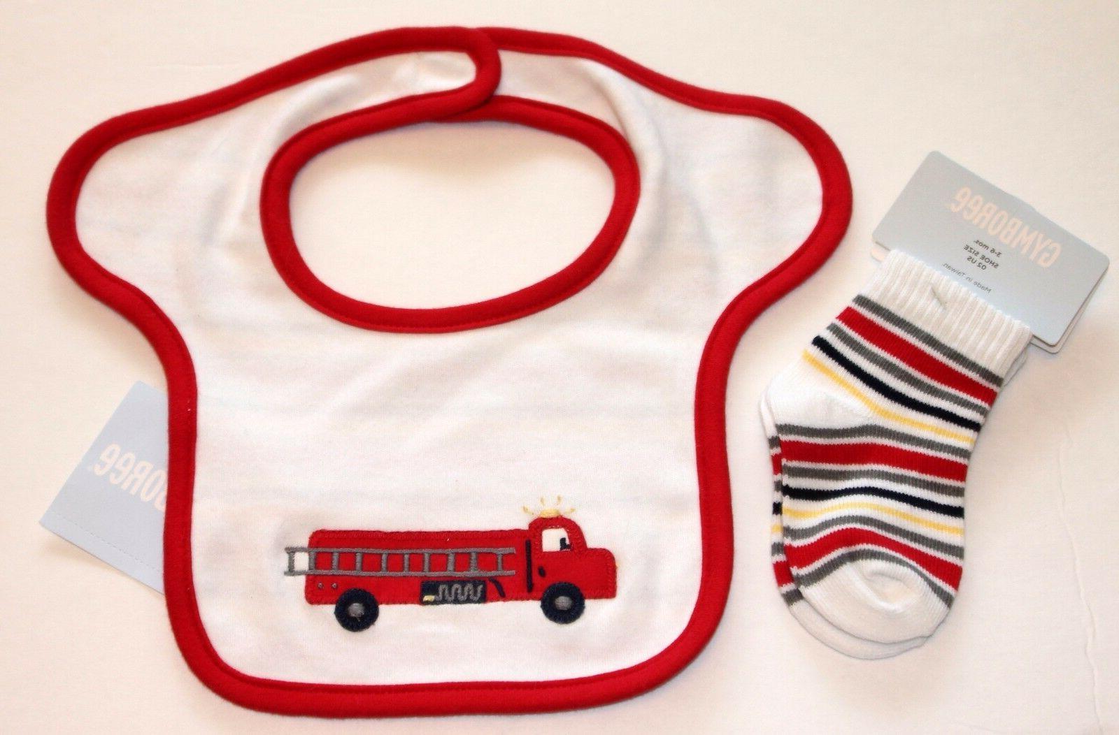 fire truck bib socks set infant boys