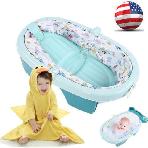 foldable newborn infant bath tub w storage
