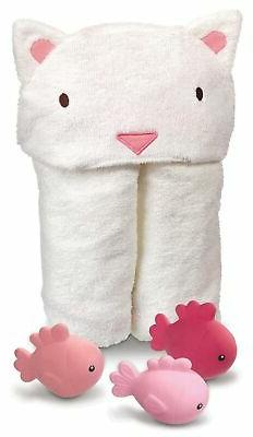 Hooded Soft Baby Unisex Cat Towel With Floating Bath Fish To
