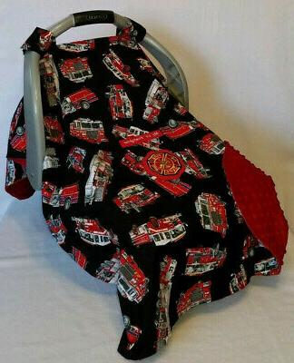 Infant CarSeat Canopy Fire Fighter Patch Red Minky