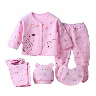 5Pcs/Set Newborn Pants+T-Shirt Outfit Cotton Clothes