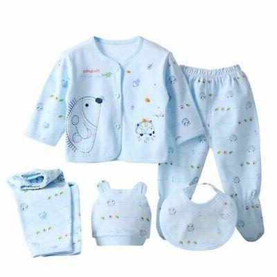 Infant 5Pcs/Set Newborn Baby Pants+T-Shirt Outfit Cotton