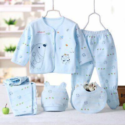 Infant Unisex Boy 5Pcs/Set Outfit Cotton