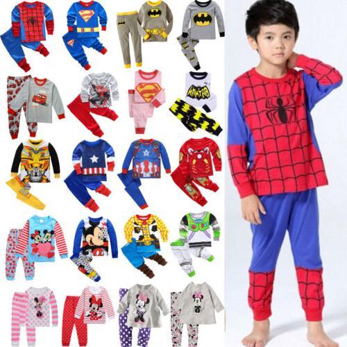 Kids Cartoon Sleepwear Outfit Nightwear Pj's Set