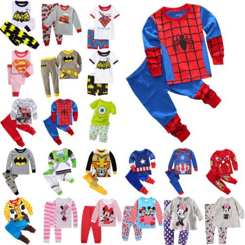 kids boys girls cartoon sleepwear outfit baby