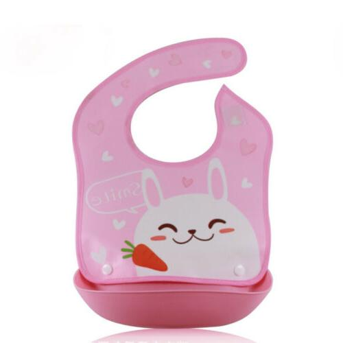 Cute Waterproof Babys Silicone+Plastic Bib Feeding Food Catcher