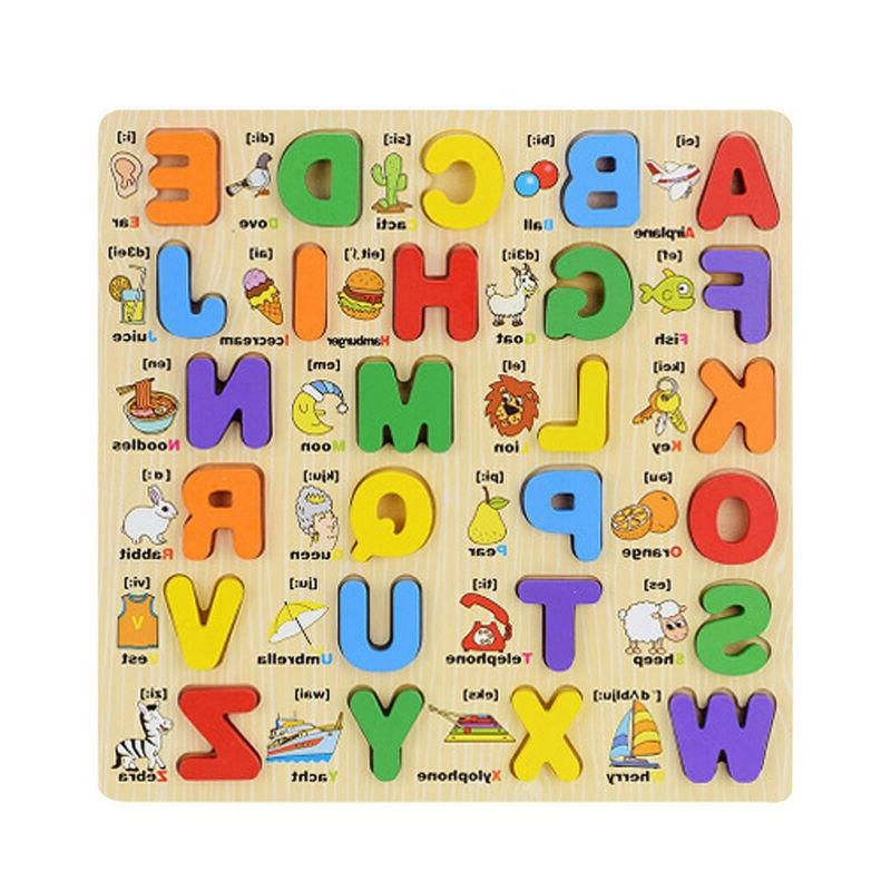 Kid Wooden Alphabet Puzzle Toddler Board Learning