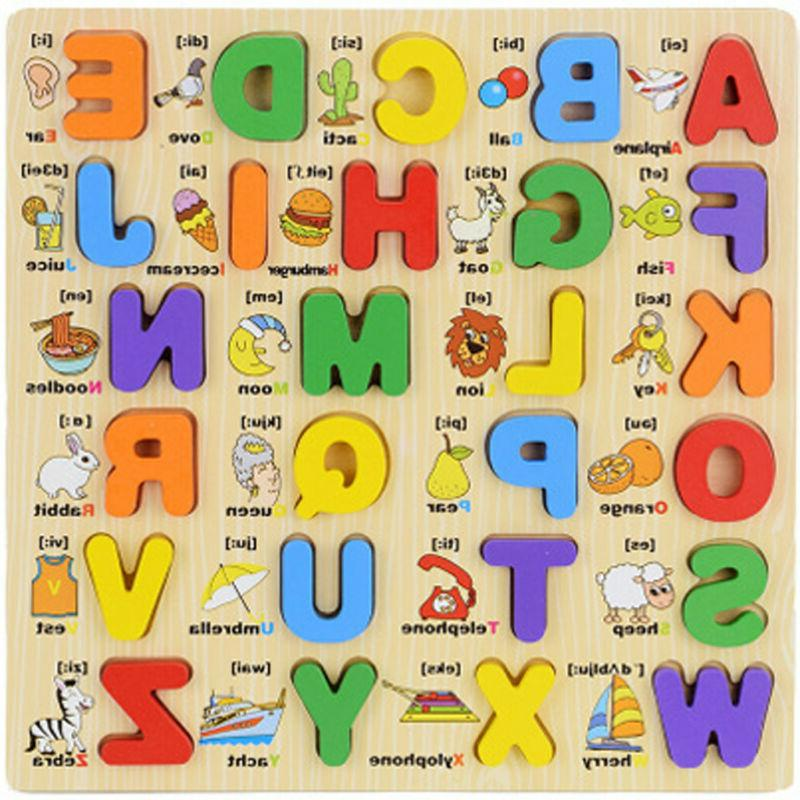 kid wooden alphabet matching puzzle toddler board