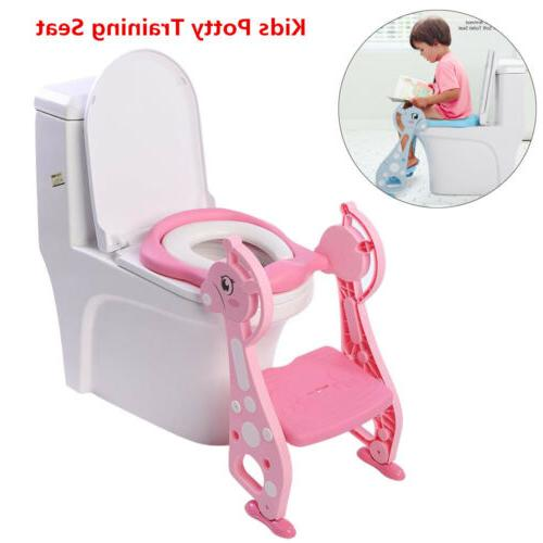 Cute Kids Potty Training Seat with Step Stool Ladder Child T