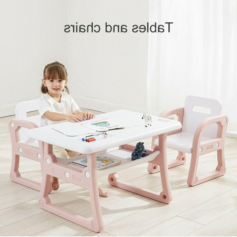 Kids Table&2 Chairs Play Set Toddler Child Toy Activity Furn