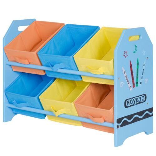 Kids Toddler Child Storage Fabric Colorful Case Basket w/6 Organizer