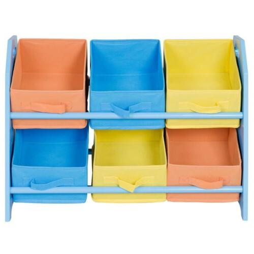 Kids Toddler Child Storage Fabric Box Case Basket w/6 Bin