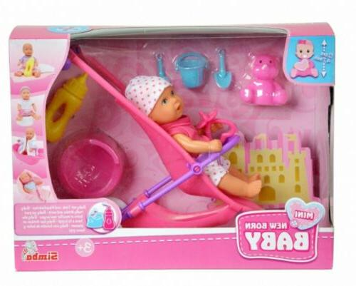 Simba Mini New Born Baby Doll Buggy Stroller Set  Drink & We