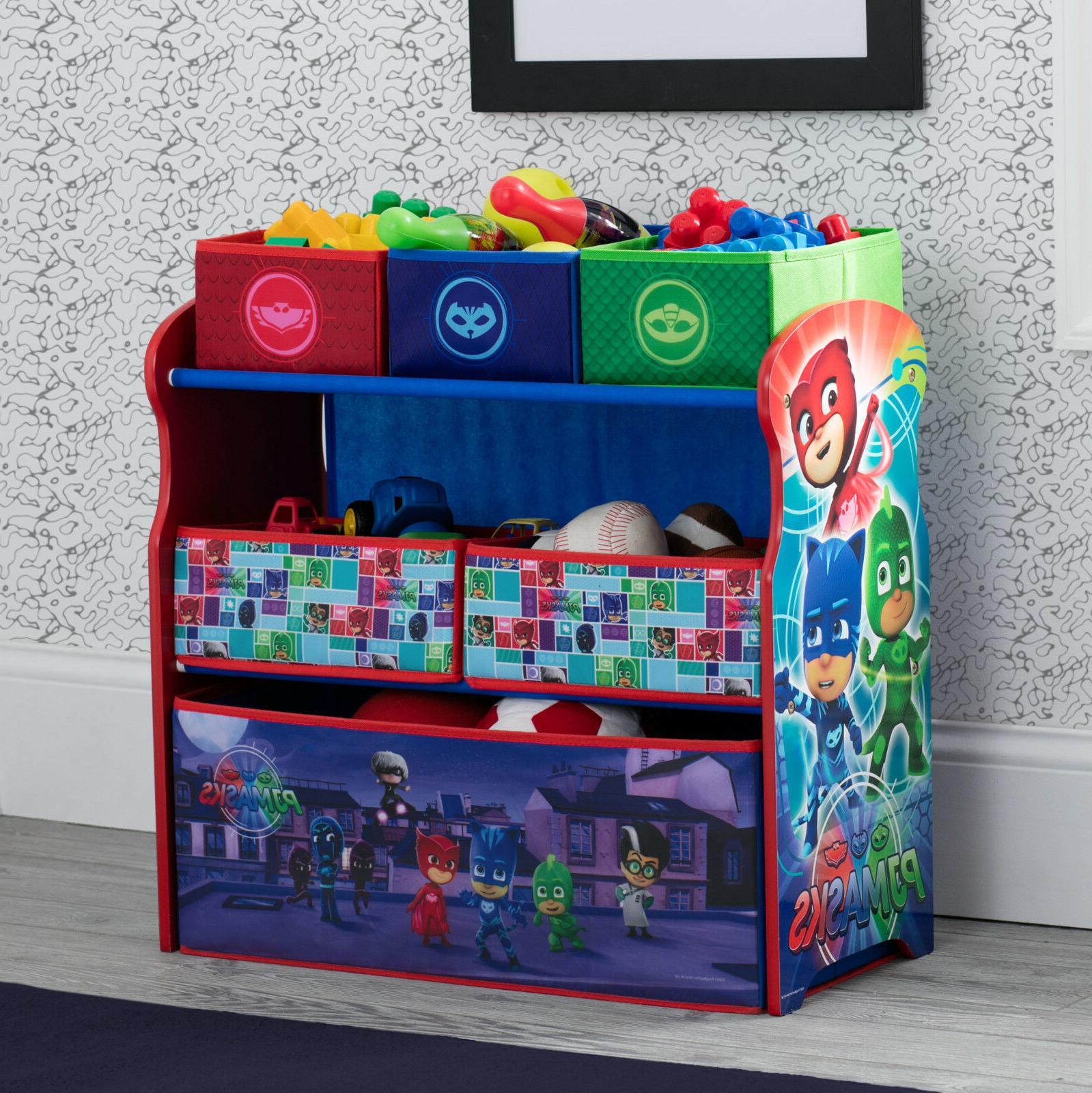 multi bin toy organizer wood fabric sturdy