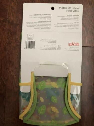 Nuby Water Resistant Baby Bibs Pocket - 2 - Jungle/Leaves