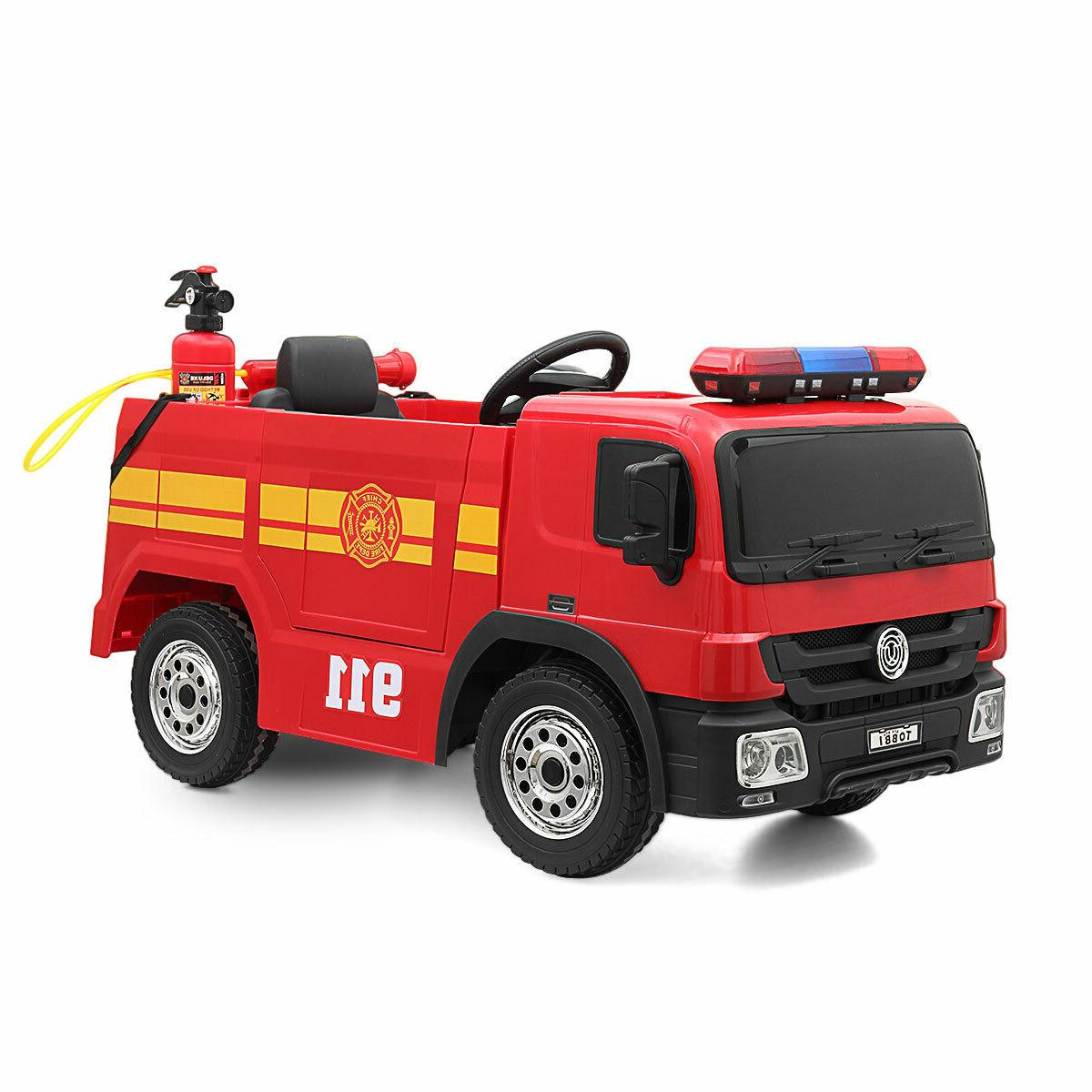 Red Electric Fire Truck Kids On Car Child Play Toy w/ Control