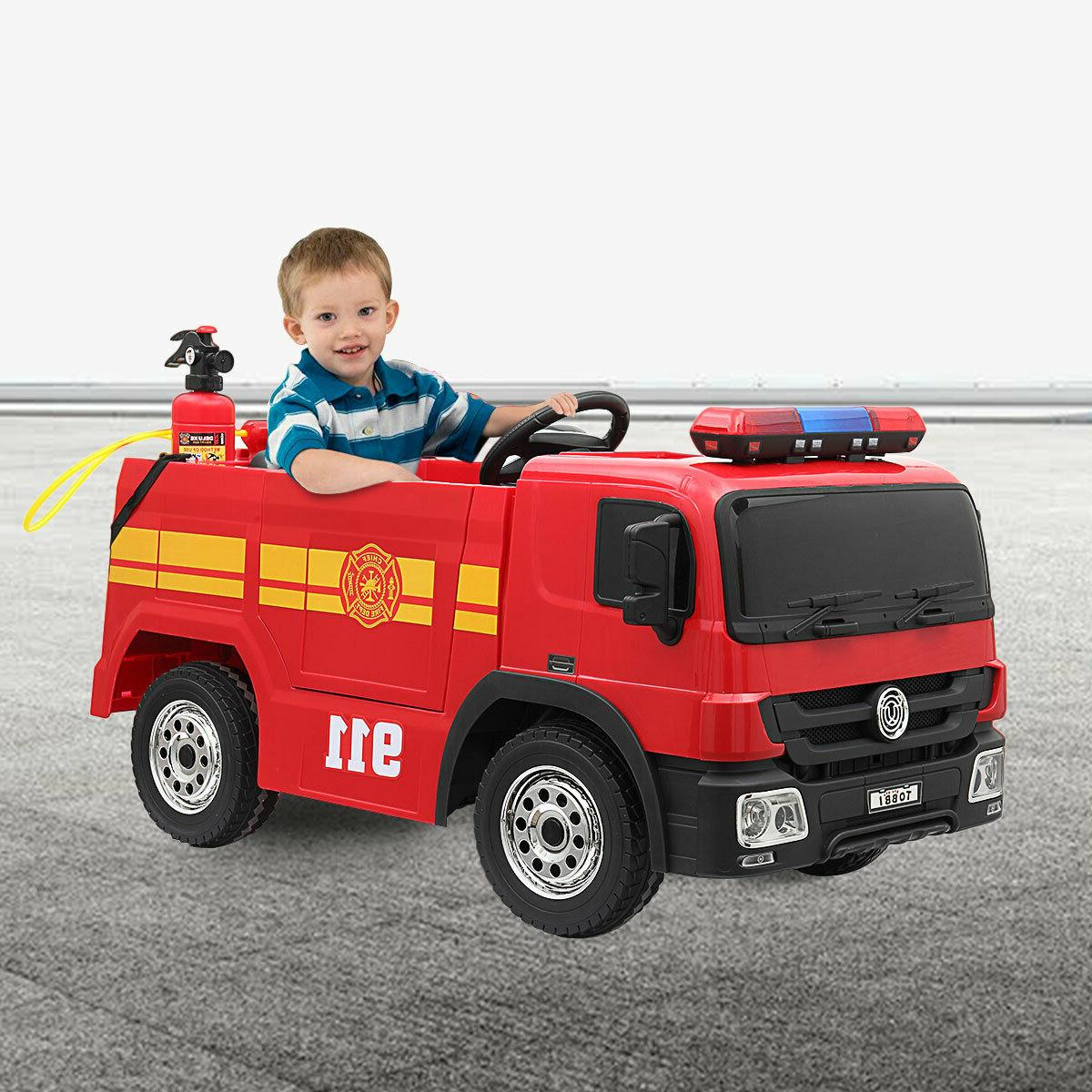 red electric fire truck kids ride on