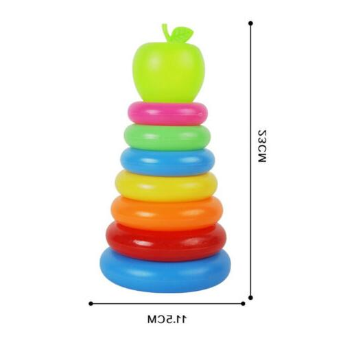 Set of 2 Sort And Stack Rainbow Tower For Baby Early