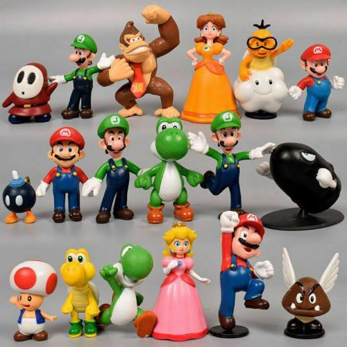 Super Mario Bros Lot 18pcs Action Figure Doll Playset Figuri