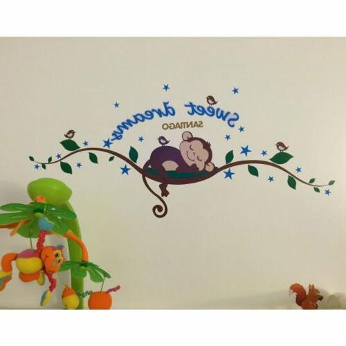 Sweet Dream Monkey Wall Sticker Decal Removable Baby Nursery Decor