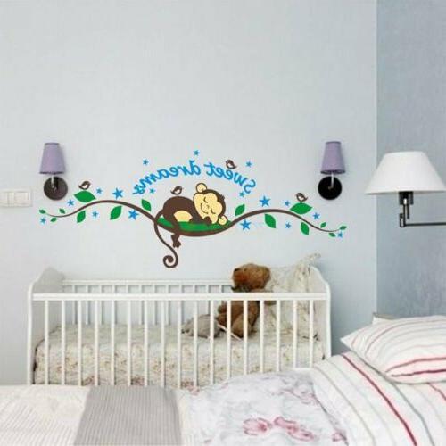 Sweet Monkey Sticker Decal Kid Baby Nursery Room Decor