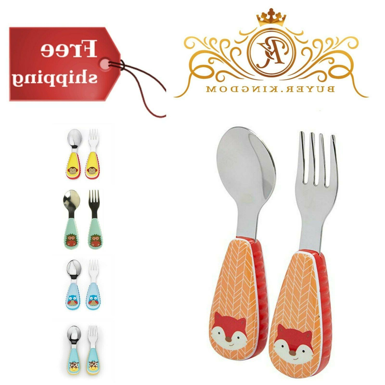 Toddler Utensils Fork And Spoon Set Soft Chunky Grips For Le