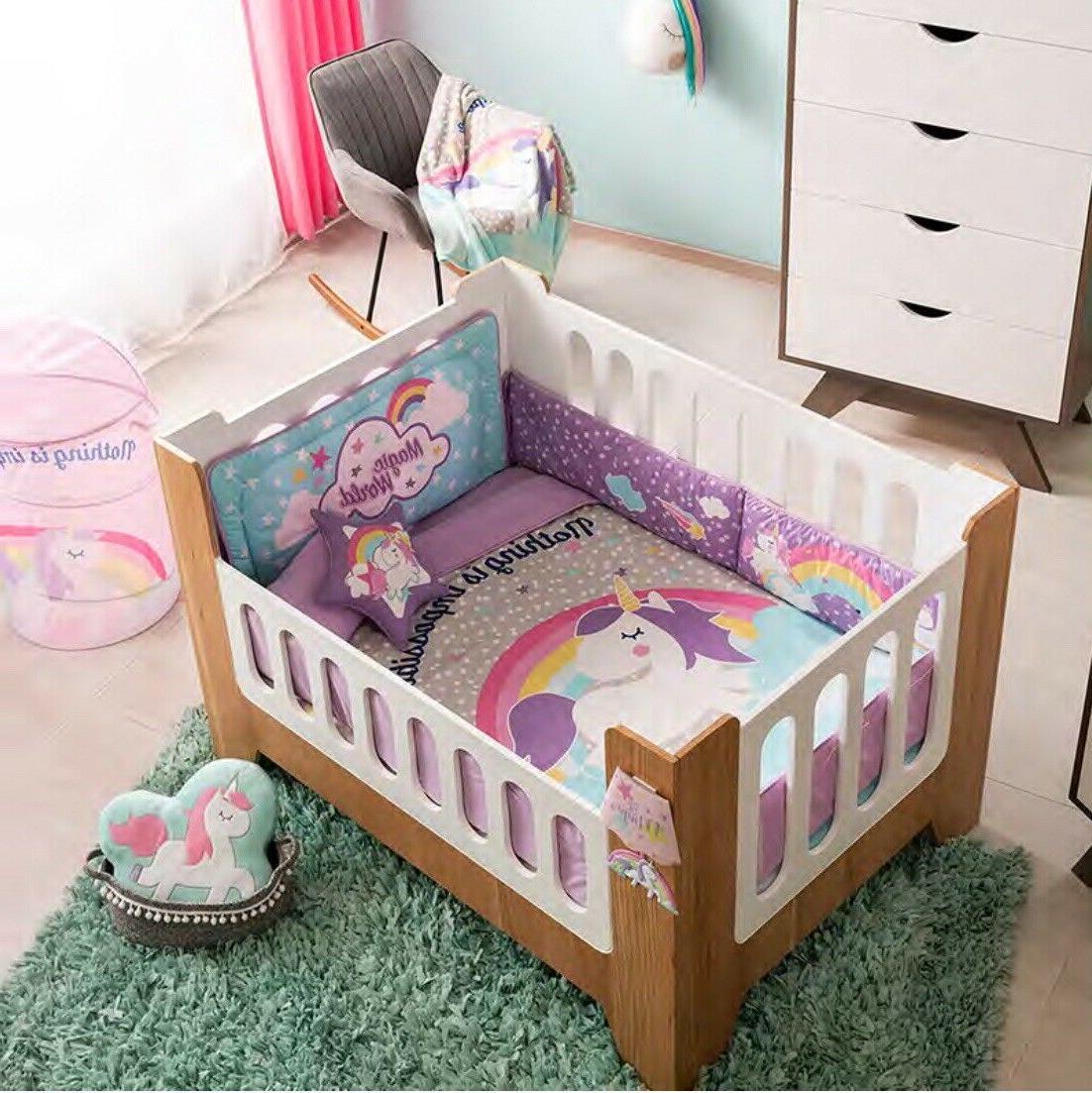 UNICORN MAGIC  BABY GIRLS CRIB BEDDING SET NURSERY 6 PCS FOR