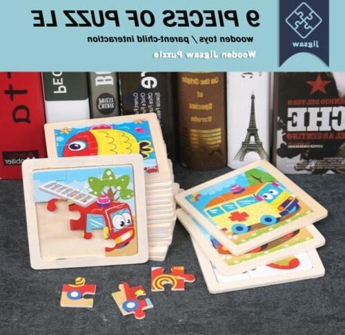 US Animals Wooden Puzzle Blocks Toddler Baby Kids Child Educ
