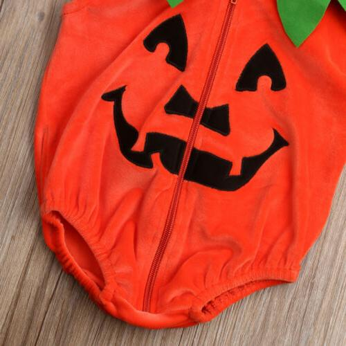 US Baby Halloween Pumpkin Romper Sleeveless Jumpsuit