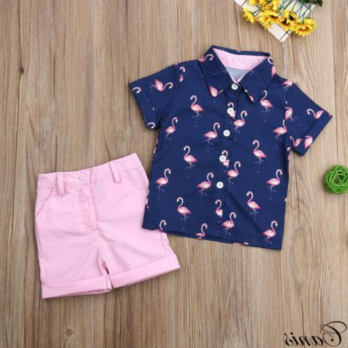 Fashion Toddler Kids Baby Boys Clothes Outfits Sets Short T-