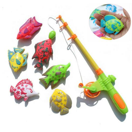 New 7pcs Magnetic Fishing Toy Pole Rod Model Fish Kid Baby B