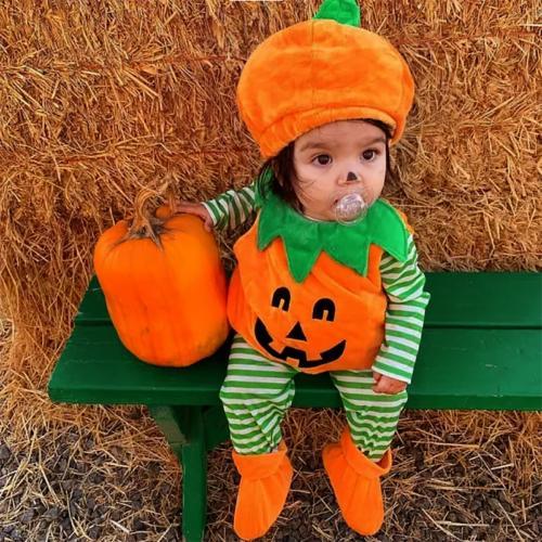 US Newborn Baby Girl Boy Halloween Clothes Set Pumpkin Costu