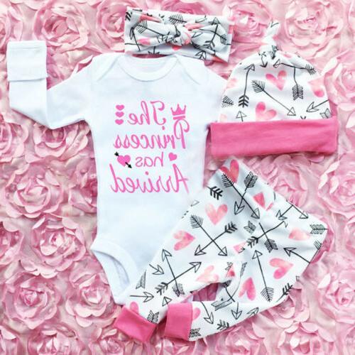 Newborn Infant Baby Girls Tops Romper Pants 4PCS Outfits Set