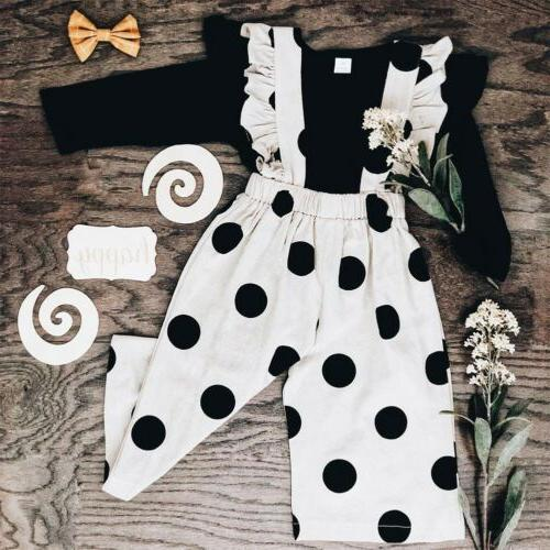 US Toddler Baby Girl Clothes Long Sleeve Ruffle Tops Polka L