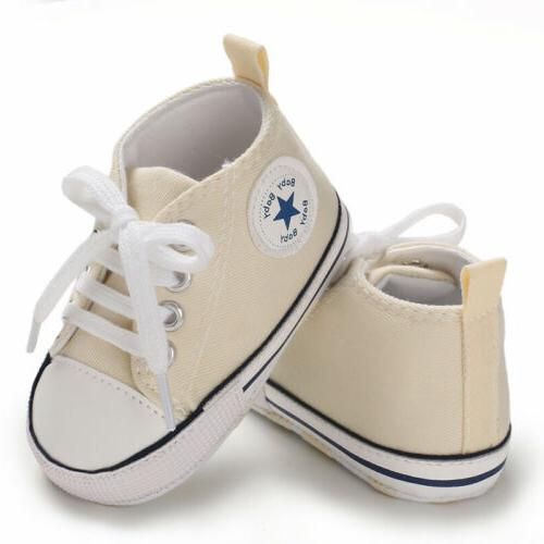 USCute Newborn Canvas Sneakers Baby Soft Prewalkers