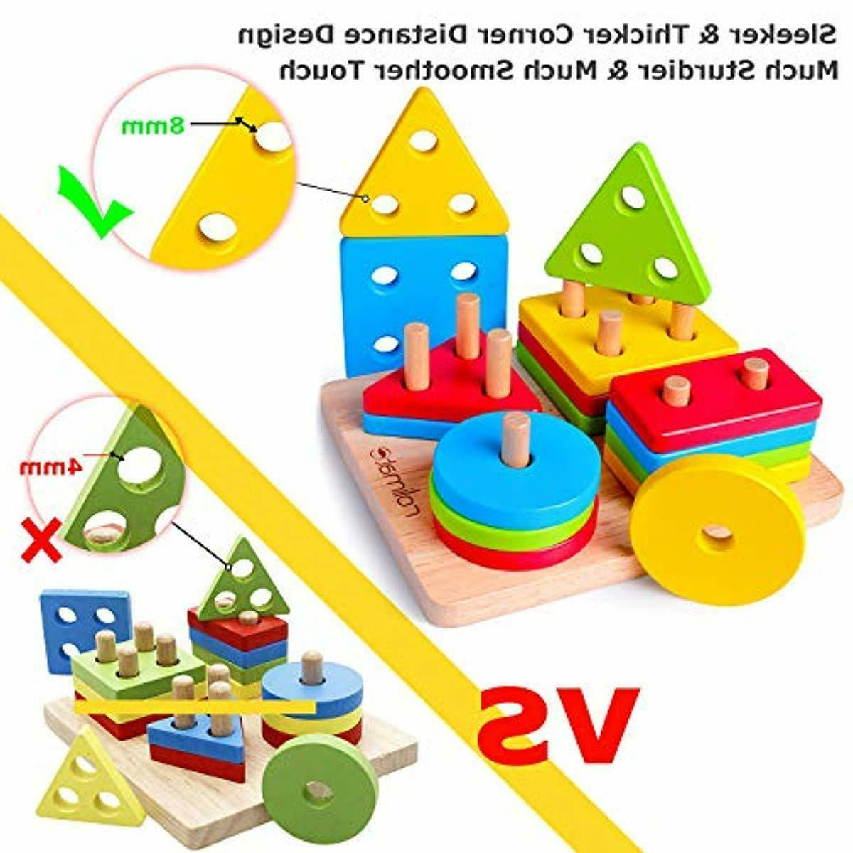 Wooden Educational Learning Toys, Motor Stacking for 1+