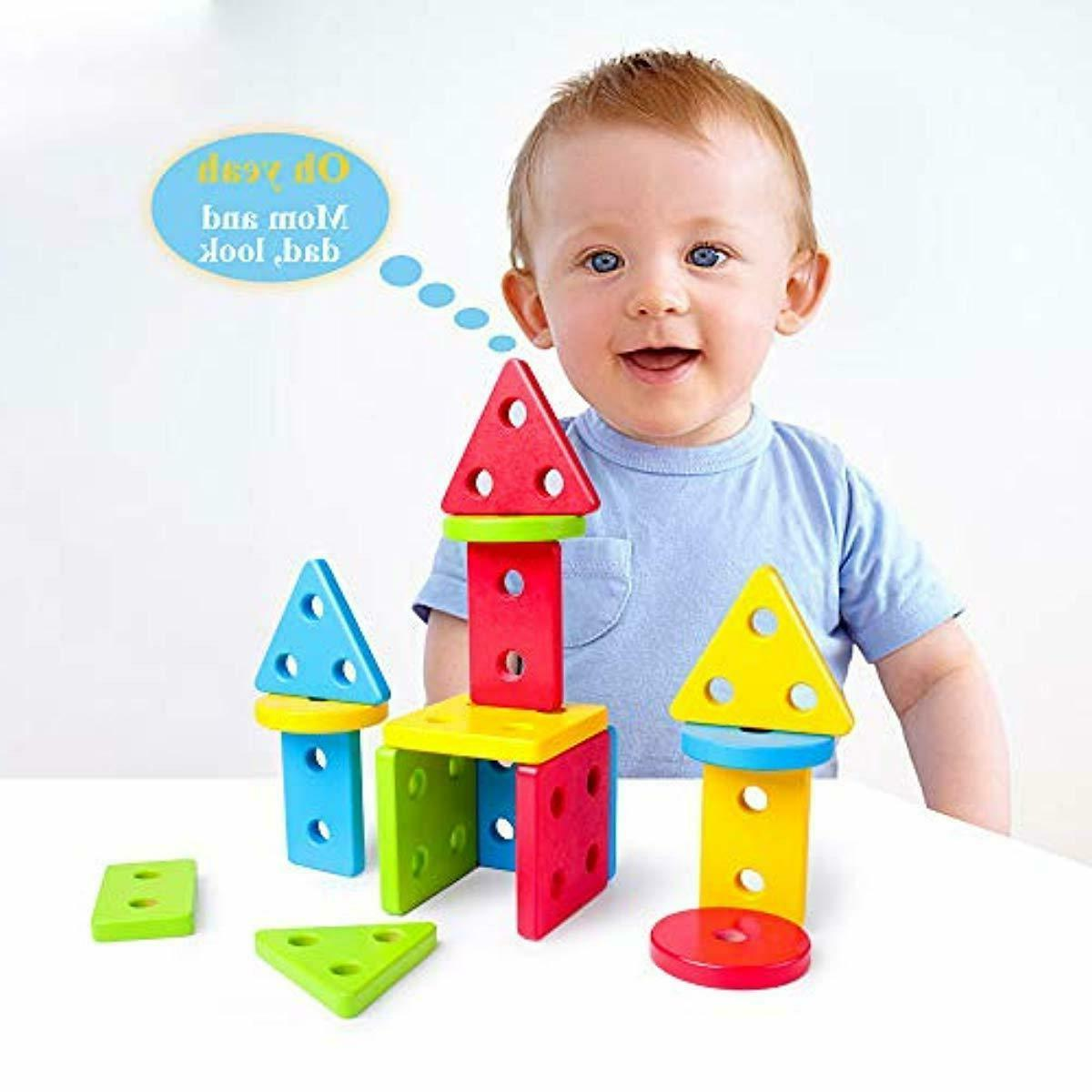 Wooden Baby Toys, Motor Sorting Stacking for 1+