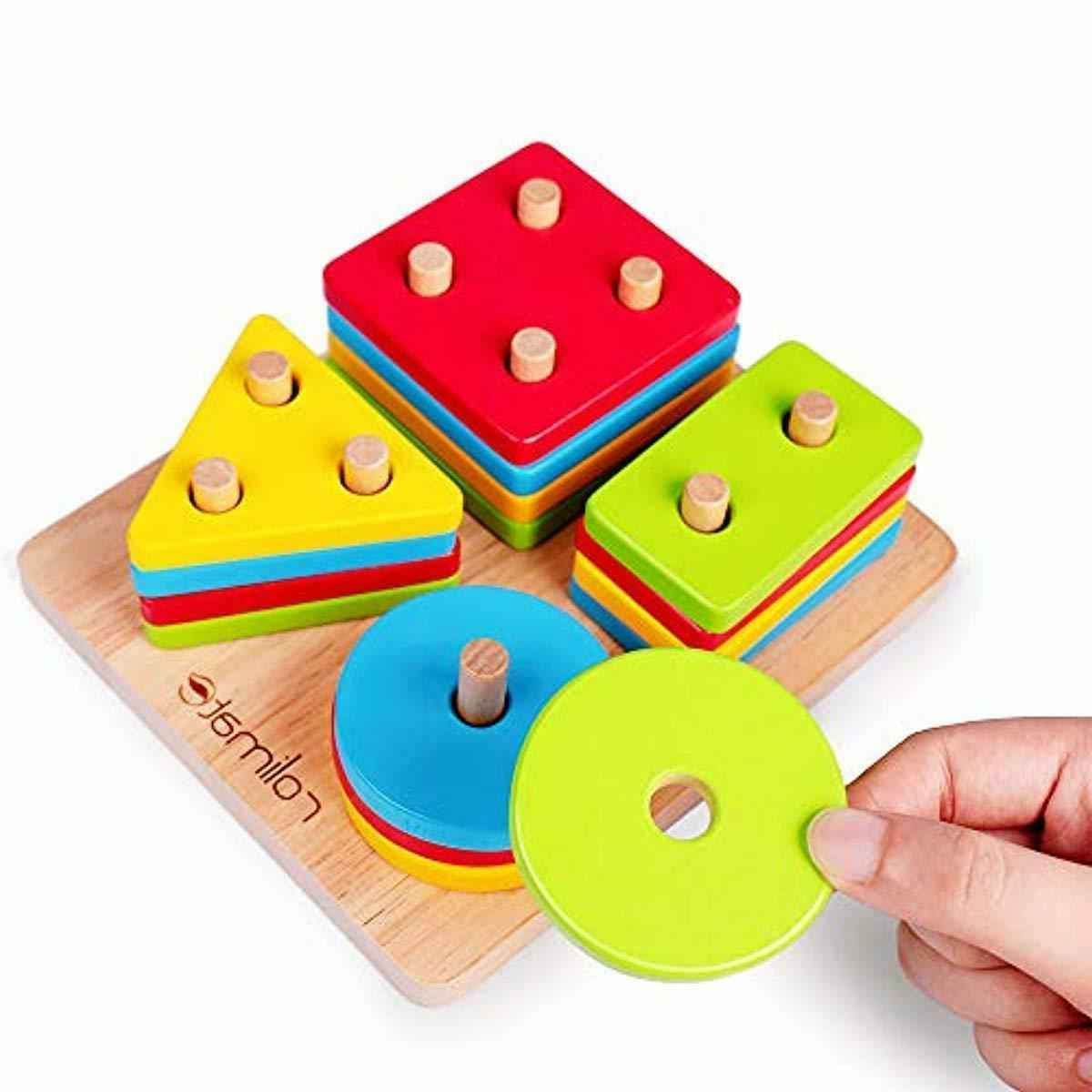 Wooden Toys, Motor Stacking Toy for 1+