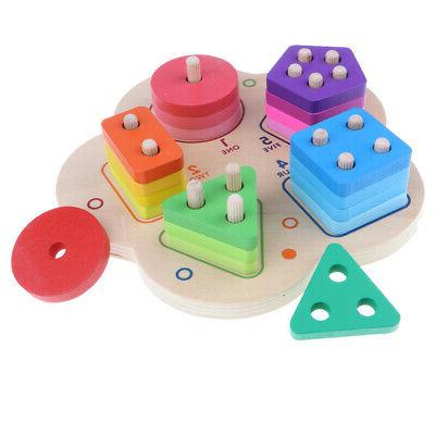 Wooden Geometry Stacking Sorting Puzzles Toys