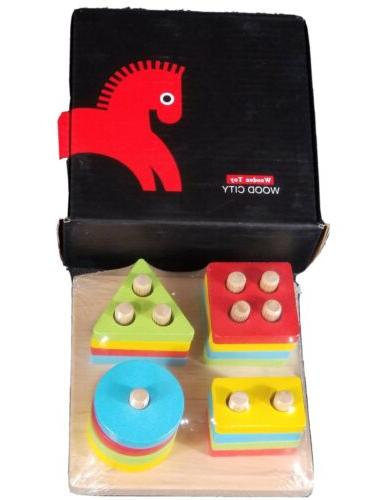 wooden sorting and amp stacking toys