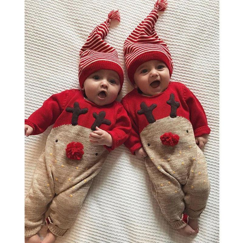 XMAS Newborn Baby Girls Boy Pajamas Sleepwear Nightwear 3pcs