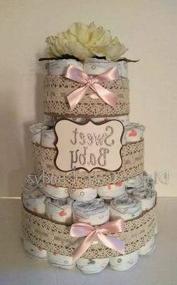 Lace Sweet Baby Diaper Cake girl baby shower gift