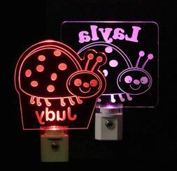 LadyBug Personalized LED Night Light, Girls Nursery Lamp Bab
