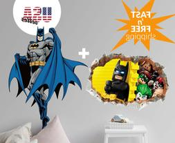 Large Batman & LEGO Wall Stickers 2 PACK Removable Decal Kid